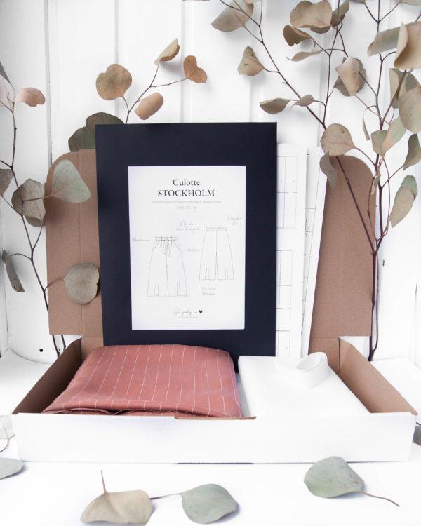 DIY-Nähset Nähset Culotte Stoff Meterware Tencel braun Peanut mit Streifen Locyell