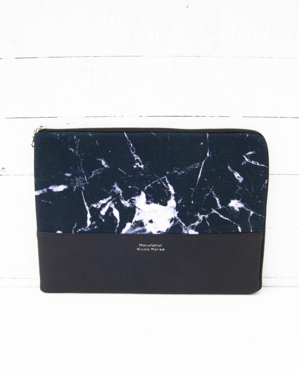 Nachhaltige Laptophülle Ipadhülle Marmor Marble Stoff Schwarz Handmade in Germany (6)