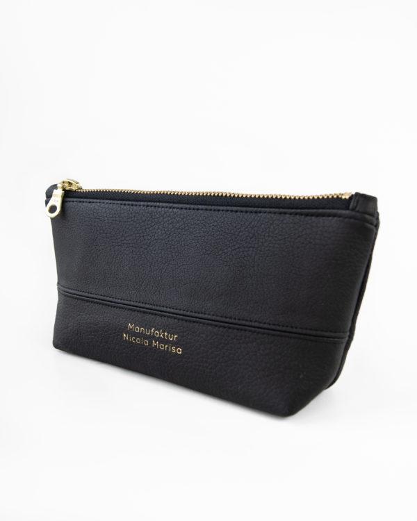 ALL-BLACK-nachhaltige-Tasche-Stiftemappe-Veganes-Kunstleder-schwarz-gold-handgefertigt-Geschenkidee