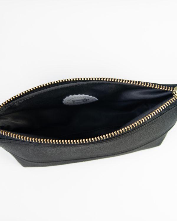 ALL BLACK nachhaltige Tasche Stiftemappe Veganes Kunstleder schwarz gold handgefertigt Geschenkidee (2)