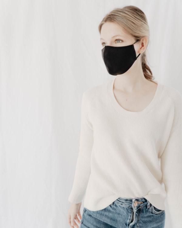 weiche Maske aus Baumwolle Bio in schwarz für Damen Frauen