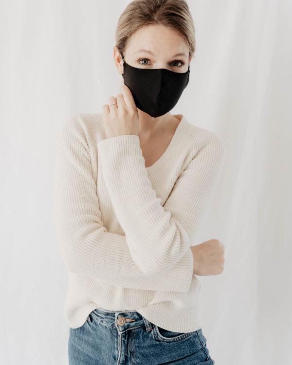 nachhaltige Maske für Frauen Damen aus schwarzem Baumwollstoff