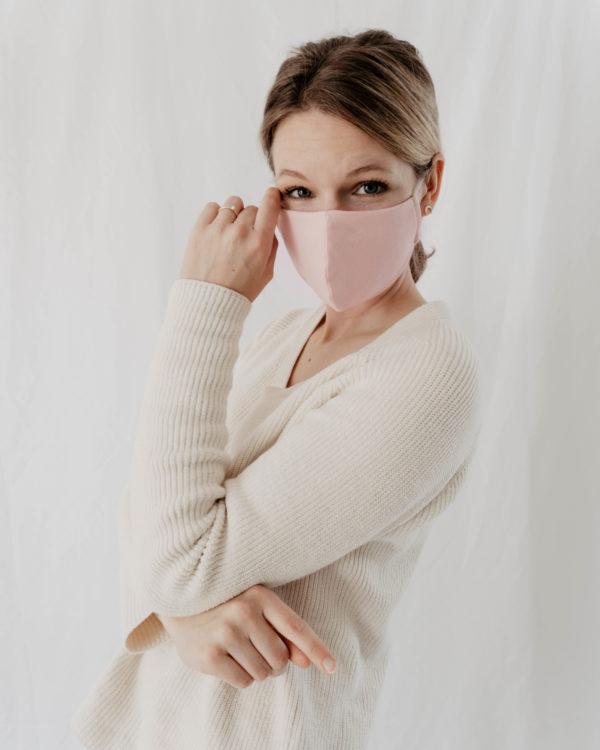 bequeme Behelfsmaske für Damen Frauen Kinder in Rosa aus BioBaumwolle