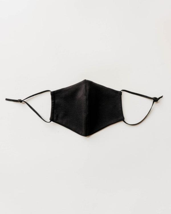 Nachhaltige Biobaumwollmaske in schwarz für Männer, Frauen und Kinder Vorderansicht